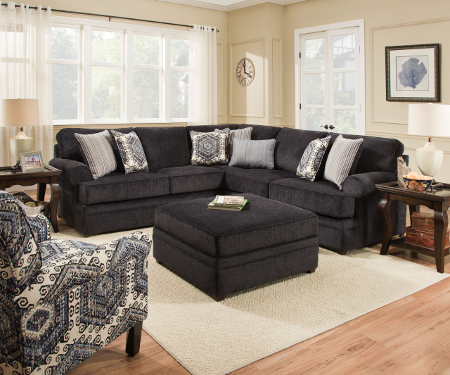 8530 Beautyrest Sectional In Macey Pewter And Bellamy Slate