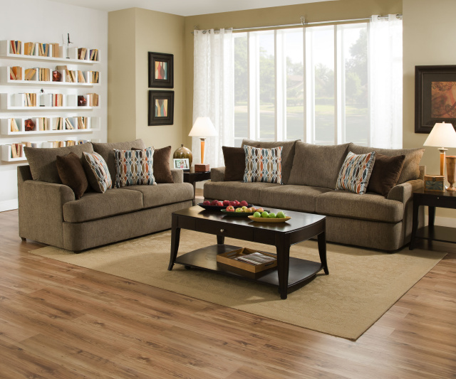 8540 Beautyrest Sofa And Love In Grandstand Walnut Or Flannel 98 39 Sofa With Filippable Cushions