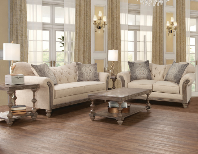 8725 driftwood wood front sofa and love in new siam for Living room furniture specials