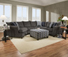 6485 Sectional with Pie shaped chaise in Albany Slate and Chesnut