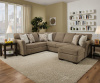 7058 Sectional with Reversible Chaise - Mocha or Steel Blue