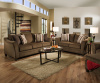 6485 Sofa and Loveseat in Albany Slate and Chestnut