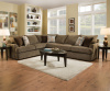 8540 Beautyrest Sectional in Grandstand Walnut and Flannel- HUGE!