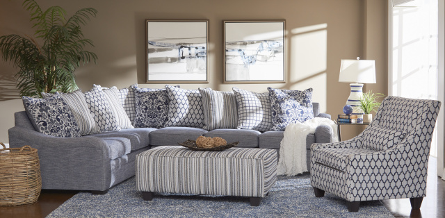 1903 2Pc Sectional in Tangiers Navy, Accent Chair and Accent Ottoman available