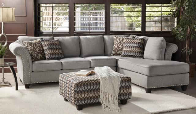 2350 Silver Nailhead Trim, 2 Piece Sectional in Haven, Accent Ottoman Available