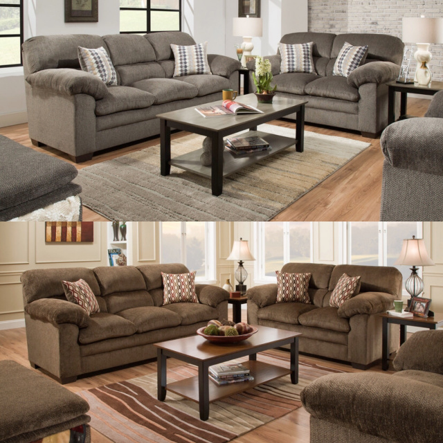 3683 Sofa and Love in Harlow Ash and Chestnut (Chair and 1/2 and STOT Available in Harlow Ash)
