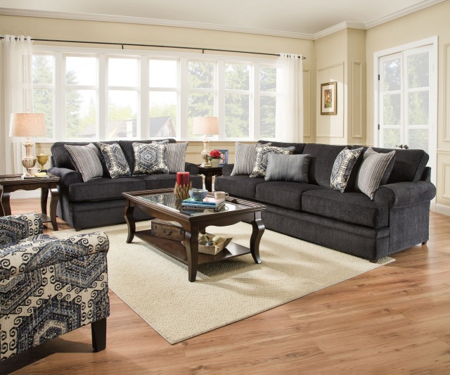 8530 Sofa and Love in Macey Pewter and Bellamy Slate