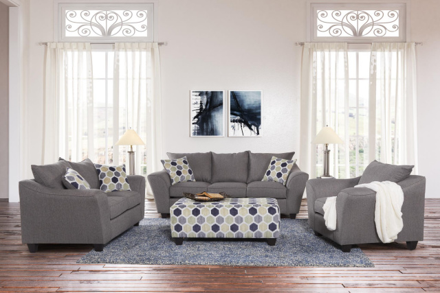 1075 Flaired Arm Sofa and Love in Heritage Gray