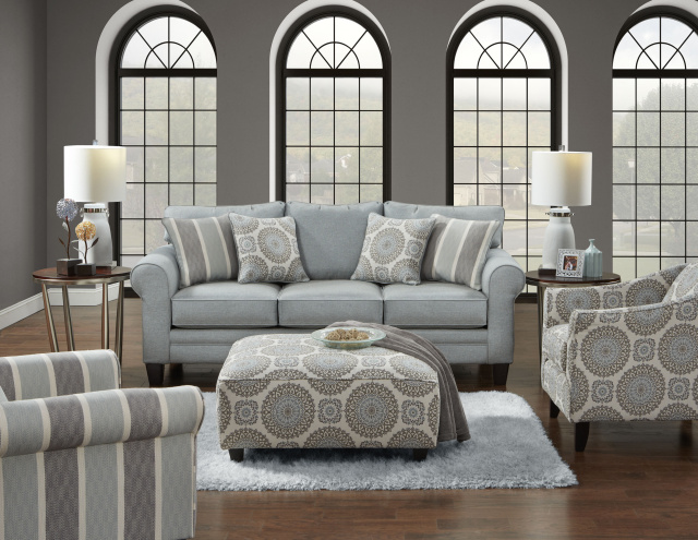 1145 Sofa and Love in Grande Mist Both  Accent Chairs Available and Accent Ottoman