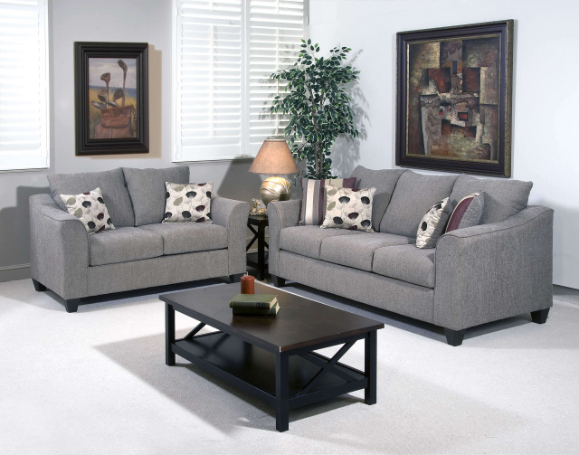1225 Sofa and Love in Flyer Metal, Accent Chair in Roxanne Rio