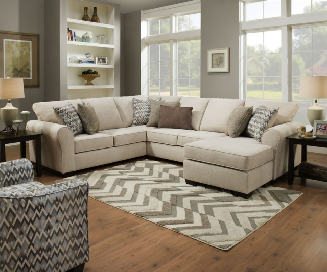 1657 Sectional in Boston Linen - with Reversible Chaise