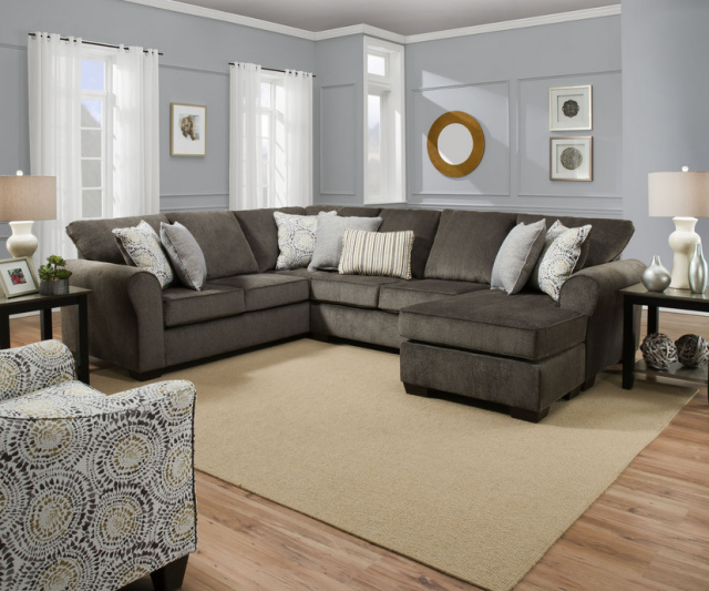 1657 Sectional in Harlow Ash -with Reversible Chaise