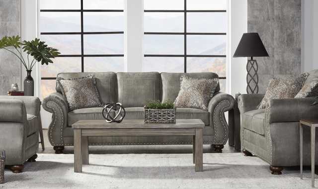 1745 Nailhead Trim on Sofa and Love in Mica, Ginger and Brown