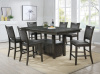 1942 Large Weathered Gray Pub Table with Storage and 6 Chairs