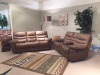 2038 Motion Sofa, Motion Console Love and Rocker Recliner in Deep Taupe