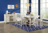 1734 Counter Height White Rubbed Dinette with 3 shelves under table, 4 drawers in Table (42x60x36),