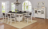 1852 Pub Table in Rustic Gray and Antique White (75x42) with Storage Base and 6 Pub Chairs