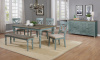 1854 Farmhouse Dining Weathered Finish Tops with Robins Egg Legs (68x38x30)- Table, 4 Chairs and a B
