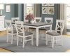8615 Dining Height Table and 6 Chairs White with Gray Top