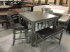 "1744 Gray Counter 42"" square table with 3 Chairs and a Bench"