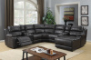 2212 Motion Sectional in Angus Walnut Breathable - 2 Recliners, Push Back Chaise and 2 Consoles